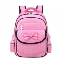 Pink Patent Leather with Black Trim Personalized Bow Flap School Backpack Durable Sewing Pattern Quilted Girls Preppy Campus Book Bag