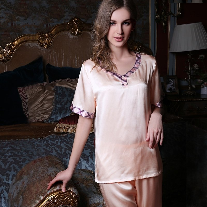 Almond 100% Pure Silk Summer Pajamas for Girls M L XL