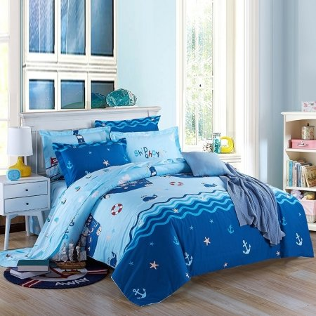 Ocean Blue and Aqua Nautical Themed Anchor and Whale Print Seaside Style 100% Organic Cotton Full, Queen Size Bedding Sets