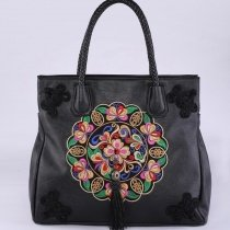 Bohemian Style Black Patent Leather Tassel with Braided Handle Tote Vintage Embroidered Rosette Pattern Women Crossbody Shoulder Bag