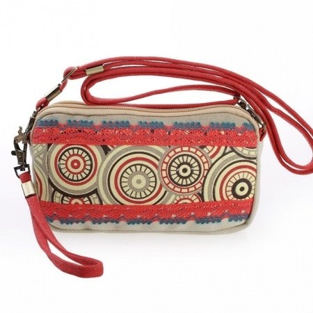 Bohemian Hippie Style Colorful Canvas Women Small Evening Clutch Wristlet Gorgeous Embroidered Moroccan Tribal Crossbody Shoulder Bag