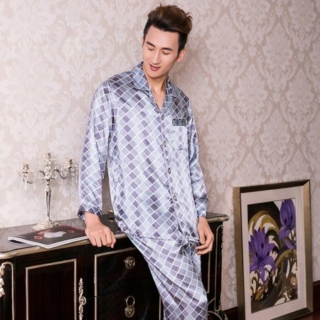 Sky Blue Plaid Checkered Long Shirt and Pants Luxury Modern Chic 100% Chinese Silk Pajamas for Men Boys L XL XXL
