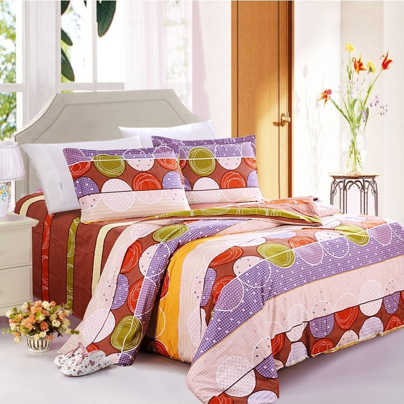 Rust Orange Dusty Purple Beige and Brown Stripe and Circle Print Abstract Design 100% Organic Cotton Full Size Bedding Sets
