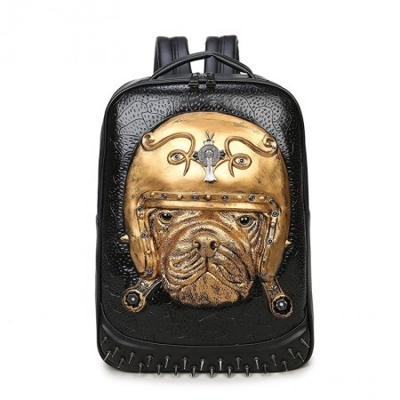 Punk Style Metallic Gold Black Leather Cool Boys School Campus Book Bag Embossed Dog Pattern Spikes Rivet Studded Travel Laptop Backpack