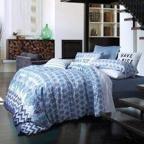 Cobalt Blue Grey and White Chevron Stripe and Paisley Print Shabby Chic Sophisticated Egyptian Cotton Full, Queen Size Bedding Sets