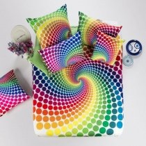 Bright Colorful Polka Dot and Curve Design Hipster Style Personalized 100% Cotton Full, Queen Size Bedding Sets for Boys and Girls