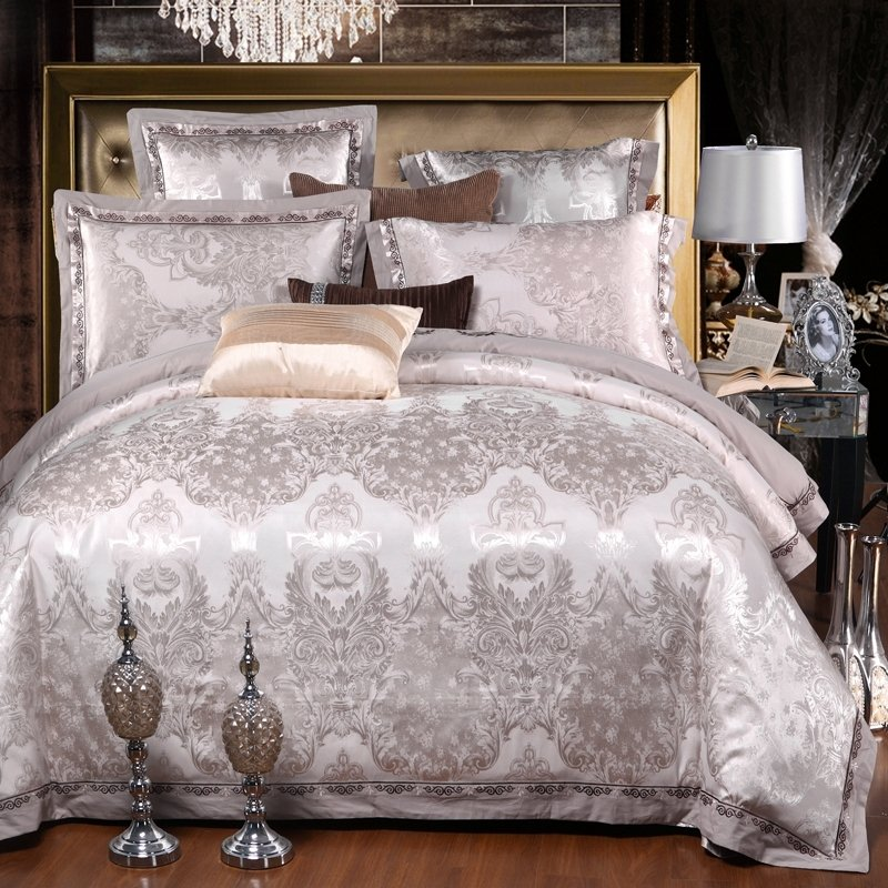 Luxury Silver White Rococo Pattern, Silver And White Bedding Sets