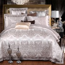 Luxury Silver White Rococo Pattern Vintage BOHO Chic Western Style Sequin Jacquard Satin Full, Queen Size Bedding Sets