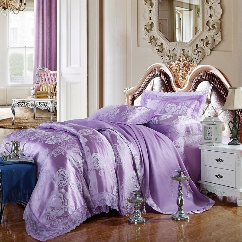 Amethyst and Silver Vintage Flower and Paisley Pattern Romantic Lace Soft Fabric Jacquard Satin Full, Queen Size Bedding Sets