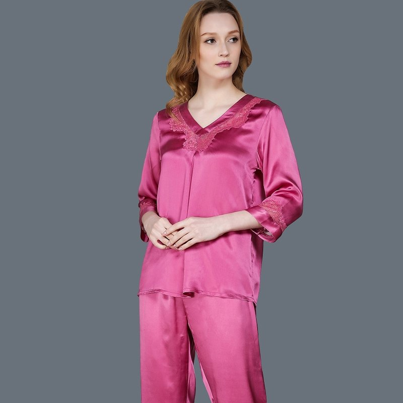 Pale Violet-red 100% Pure Silk 2 Pieces Elegant Gorgeous Pajamas for Feminine Girly M L XL