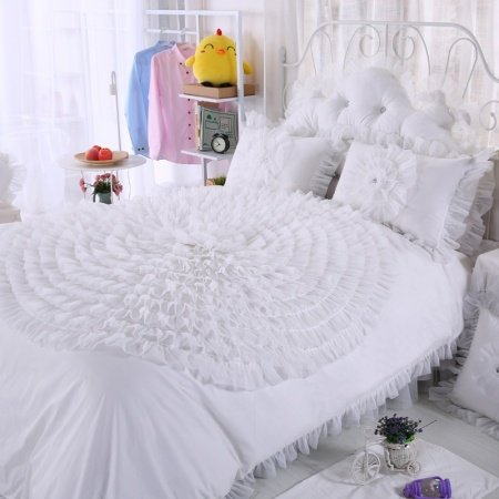 Girls Off-white Rosette Pattern Gathered Ruffled Design Princess Style Stylish Romantic 100% Cotton Twin, Full, Queen Size Bedding Sets