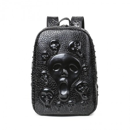 Black Patent Leather Embossed Crocodile Masculine Travel Backpack Punk Rock and Roll Style Skull Rivet Studded Cool Boys School Book Bag