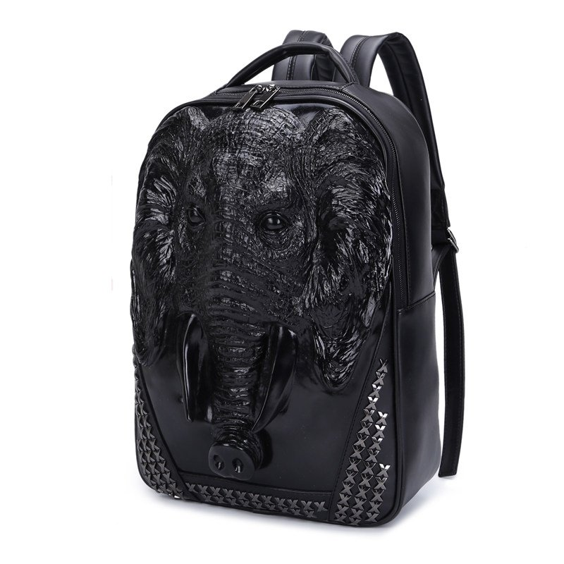 Unusual Black Patent Leather Embossed Elephant Cool Boys School Book Bag  Punk Rock and Roll Style Rivet Studded Large Travel Backpack 0ce7a6296016b