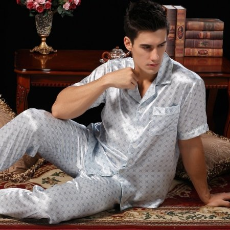 Pale Blue Plaid Pattern 100% Nature Silk Long Shirt and Pants Luxury Pajamas for Boys Masculine L XL XXL