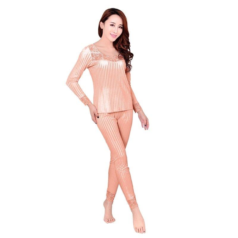 Orange Vertical Stripe 100% Pure Silk Long Sleeve Shirt & Full Length Pants Warm Spring Autumn Pajamas for Feminine XL XXL