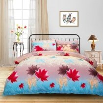 Aqua Red Grey and Yellow Bright Colorful Maple Leaf Print Rustic Style 100% Brushed Cotton Twin, Full, Queen, King Size Bedding Sets