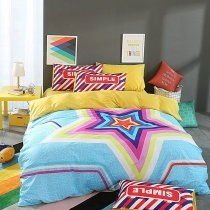 Aqua Purple Red Blue and White Bright Colorful Neon Colored Star Print Hipster Style Trendy 100% Cotton Full, Queen Size Bedding Sets