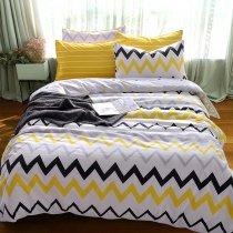 Kids Yellow Black White and Grey ZigZag Chevron Stripe Print Unique High Fashion 100% Cotton Twin, Full Size Bedding Sets