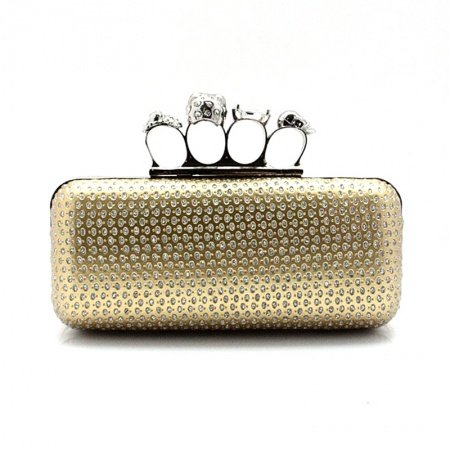 Metallic Gold Leather Women Small Four Finger Ring Evening Clutch Punk Style Skull Knuckle Duster Rhinestone Chain Crossbody Shoulder Bag