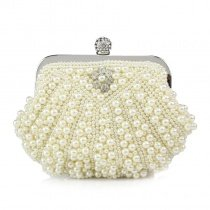 Vintage Beige Pearl Beaded Silver Hardware Lady Small Evening Clutch Bling Rhinestone Magnetic Closure Chain Crossbody Shoulder Bag