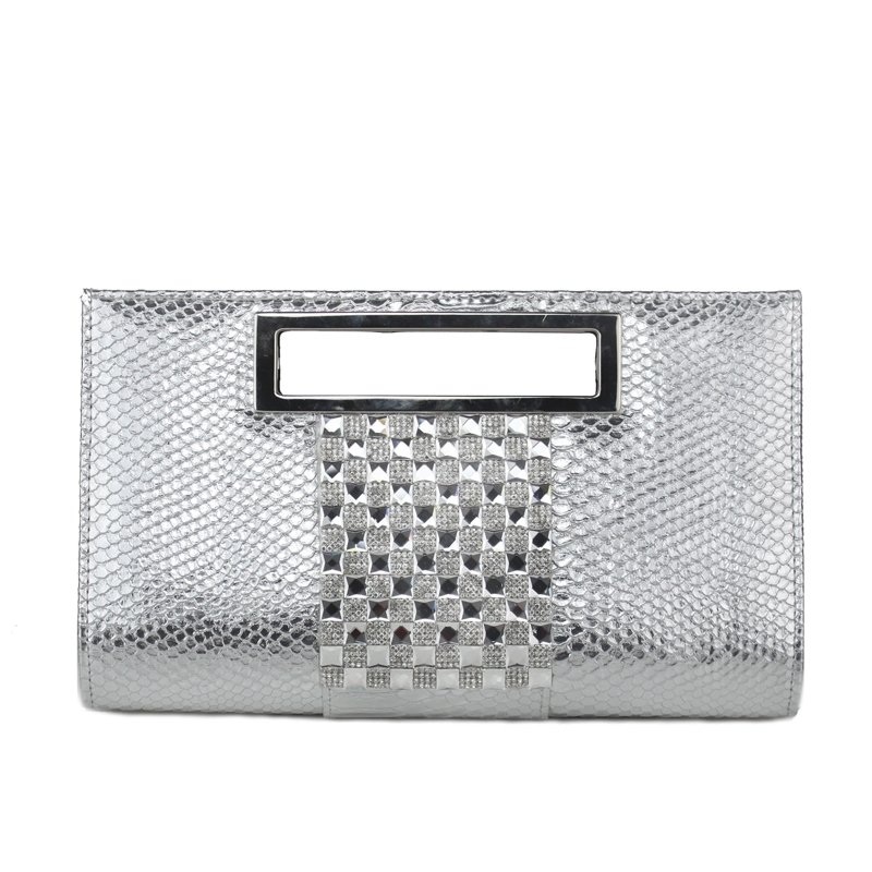 Metallic Silver Patent Leather Women Evening Clutch Personalized Embossed Snakeskin Tote Bling Rhinestone Chain Crossbody Shoulder Bag
