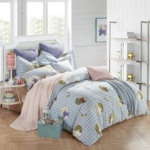 Light Blue and Khaki Plaid Print Tree Print Simply Shabby Chic Traditional 100% Brushed Cotton Full, Queen Size Bedding Sets