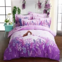 Lilac and Purple Beautiful Girl and Floral Print Feminine Feel Sophisticated Elegant 100% Brushed Cotton Full, Queen Size Bedding Sets