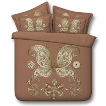 Sophisticated Rust Brown and Gold Butterfly Print Vintage Shabby Chic Twin, Full, Queen, King Size Bedding Sets