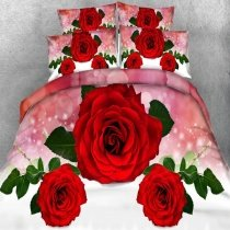 Sparkle Pastel Red White Green and Light Pink Beautiful Rose Polka Dot Print Elegant Romantic Twin, Full, Queen, King Size Bedding Sets