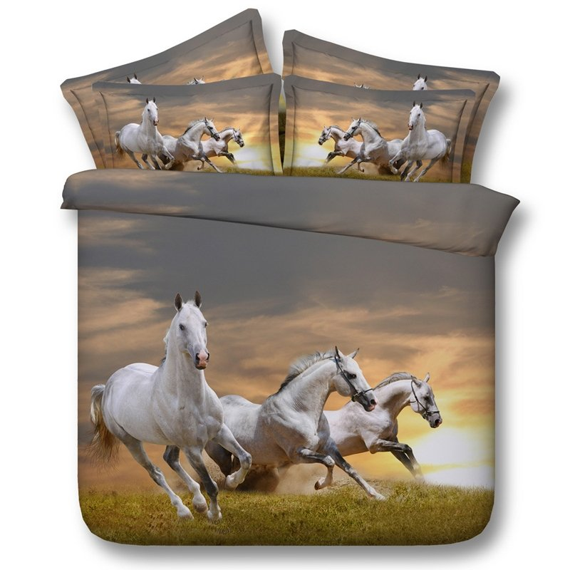 Brown Grey And White Horse Print Farm Animal Themed 3d