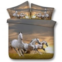 Brown Grey and White Horse Print Farm Animal Themed 3D Design Shabby Chic Twin, Full, Queen, King Size Bedding Sets