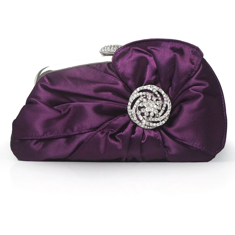 Grape Purple Ruffle Silk Satin with Silver Hardware Western Bling Rhinestone Vintage Lock Closure Flower Women Small Evening Clutch Bag
