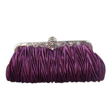 Personalized Dark Purple Ruffle Silk Satin Lady Small Evening Clutch Bling Rhinestone Magnetic Closure Chain Crossbody Shoulder Bag