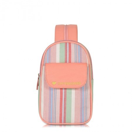 Colorful Canvas with Orange Leather Girls Small Crossbody Shoulder Chest Bag Rainbow Pinstripe Print Travel Hiking Cycling Sling Backpack