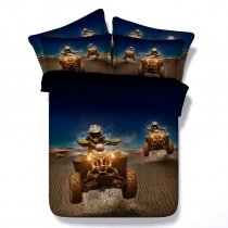 Brown and Blue Lunar Rover Print Planet Adventure 3D Design Personalized Twin, Full, Queen, King Size Bedding Sets