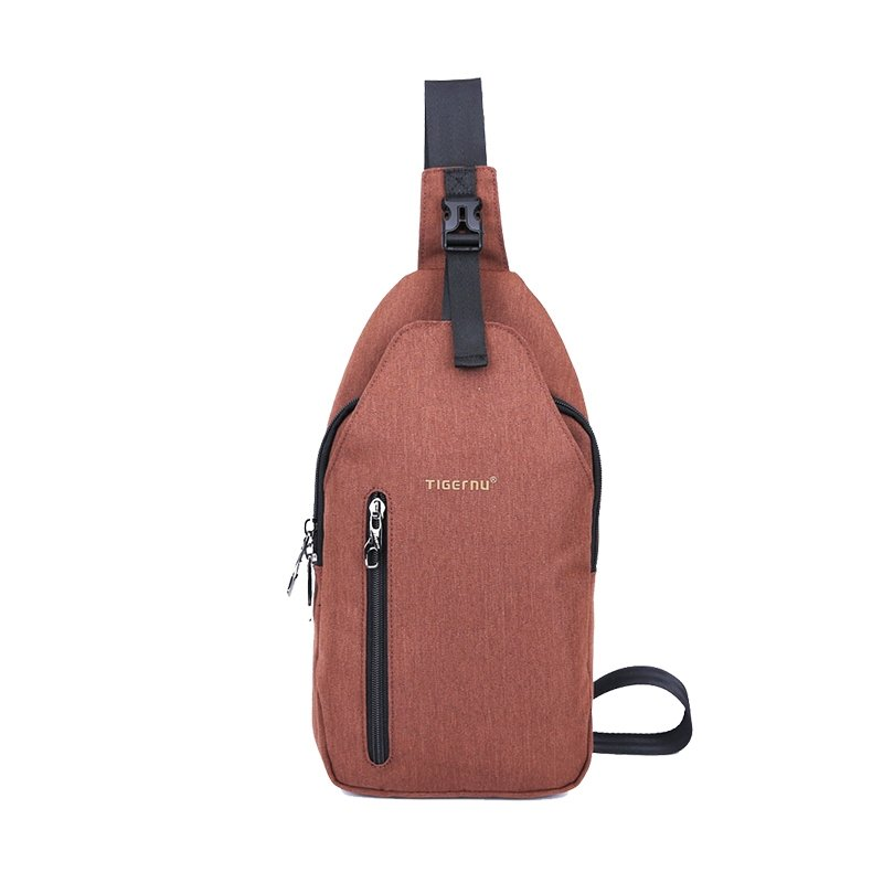 Redwood Brown Oxford Masculine Cool Boys Crossbody Shoulder Chest Bag Hip-hop Sewing Pattern Anti Theft Small Sling Travel Backpack