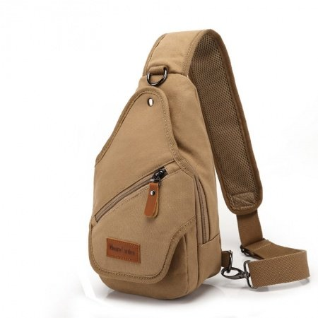 Khaki Brown Waxed Canvas with Rust Leather Crossbody Shoulder Chest Bag Vintage Sewing Pattern Men Small Travel Hiking Sling Backpack
