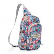 Boutique Colorful Oxford Girls Crossbody Shoulder Chest Bag Personalized Patchwork Plaid Flower Fox Print Casual Travel Sling Backpack
