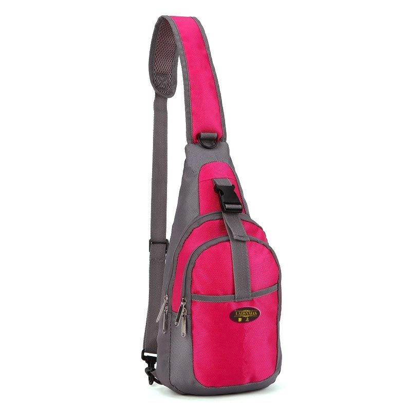 Rose Red and Gray Polyester Girls Large Crossbody Shoulder Chest Bag Hipster Sewing Pattern Casual Travel Hiking Cycling Sling Backpack