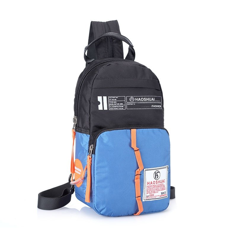 Black and Blue Oxford Boys Crossbody Shoulder Chest Bag Personalized Monogrammed Sewing Pattern Travel Hiking Cycling Sling Backpack