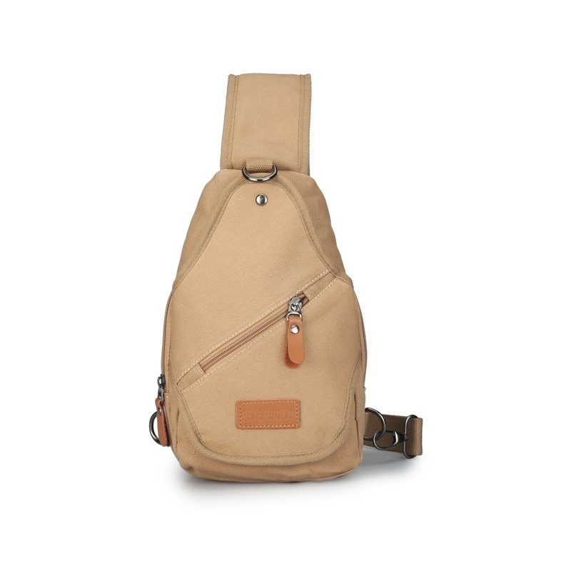 Khaki Brown Waxed Canvas Boys Crossbody Shoulder Chest Bag Vintage Sewing Pattern Studded Travel Hiking Cycling Sling Backpack