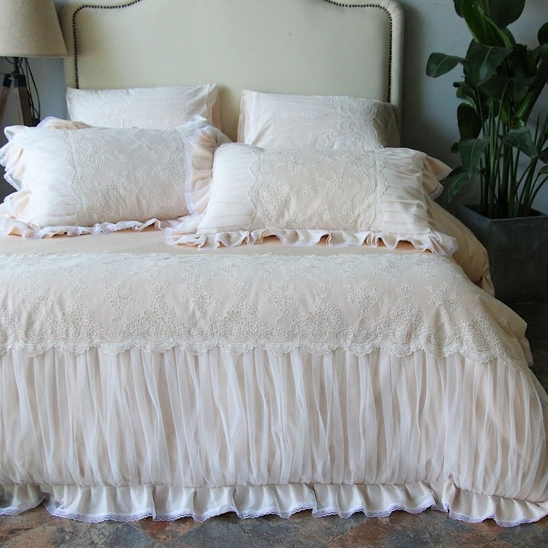 Luxury Champagne and White Romantic Wedding Themed Sophisticated Elegant Lace and Ruffle Full, Queen Size Bedding Sets