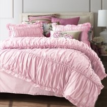 Solid Shiny Pink Romantic Simply Shabby Chic Ruffle Sophisticated Elegant Girls Seersucker Cotton Twin, Full, Queen Size Bedding Sets