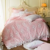Coral Pink and White Applique Rustic Western Floral Vintage Shabby Chic Victorian Lace Romantic Girls Full, Queen Size Bedding Sets