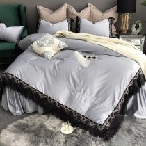 Sophisticated Elegant Silver Gray and Black Drop Ruffle Vintage Vitorian Lace Scalloped Feminine Romantic Full, Queen Size Bedding Sets
