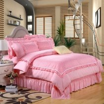 Sophisticated Elegant Pastel Pink Drop Ruffle with White Lace Romantic Shabby Chic Girls Princess Full Size Bedding Sets