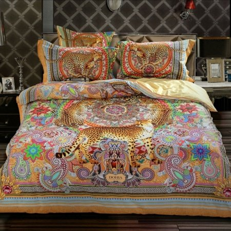 Bohemian Pastel Brown Pink Red and Orange Jungle Animal Themed Leopard and Western Paisley Print Girls Full, Queen Size Bedding Sets
