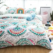 Bohemian Hippie Style Teal Green White Red and Purple Indian Ethnic and Moroccan Medallion Print Flannel Full Size Bedding Sets