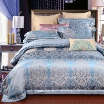 Shadow Blue and Gold Indian Tribal Pattern Victorian Style Western Bohemian Chic Royal Themed Full, Queen Size Bedding Sets