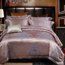 Rose Gold and Gray Victorian Gothic Style Vintage Bohemian Full, Queen Size Bedding Sets